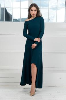 Платье с открытым плечом и длинными рукавами Mondigo со скидкой